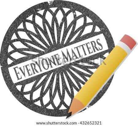 Everyone Matters emblem drawn in pencil