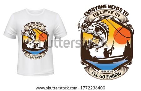 Everyone needs to believe in something i believe I'll go fishing - fishing t-shirt design, fishing vector, logo, label t-shirt. Zdjęcia stock ©