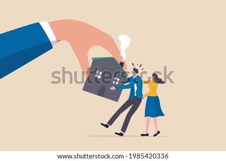 Eviction and mortgage debt, foreclosure or difficulty to payback bank mortgage loan concept, bankruptcy man and family fighting to hold back their house with big legal hand evict it by law.