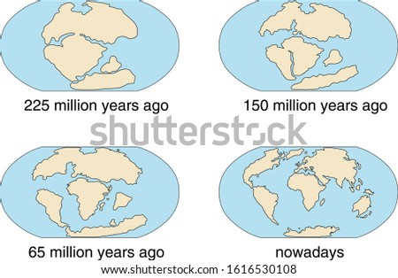 Evidence for Continental Drift, Theory of Continental Drift Stock photo ©