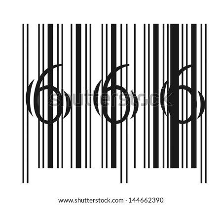 Evil bar code vector illustration isolated on a white background