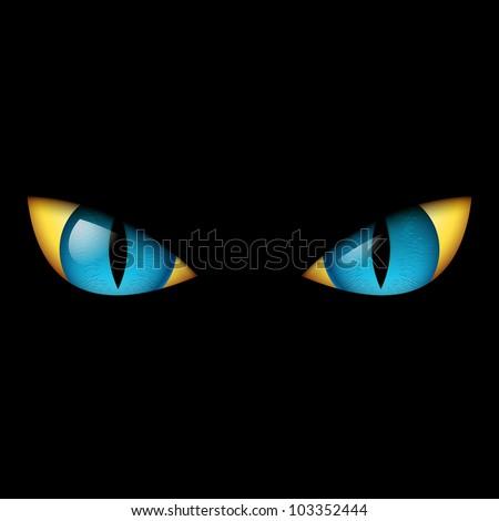 Evil Blue Eye. Illustration on black background.