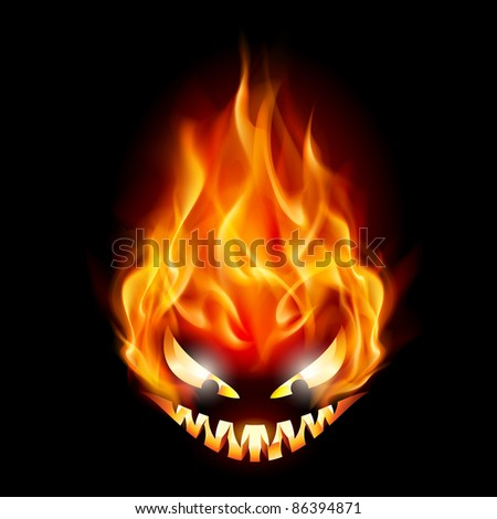 Evil burning Halloween symbol. Illustration on black background - stock vector