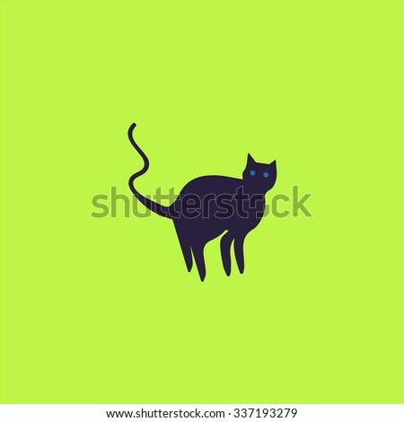 evil cat silhouette icon