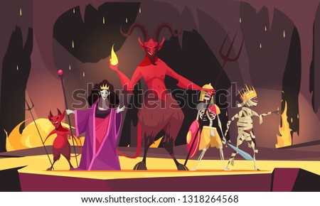 Evil characters cartoon composition with red  demon from hell devil wicked queen dark scary background vector illustration