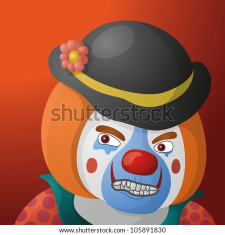 Evil clown, cartoon character in a bright suit and sinister makeup on orange background. Vector