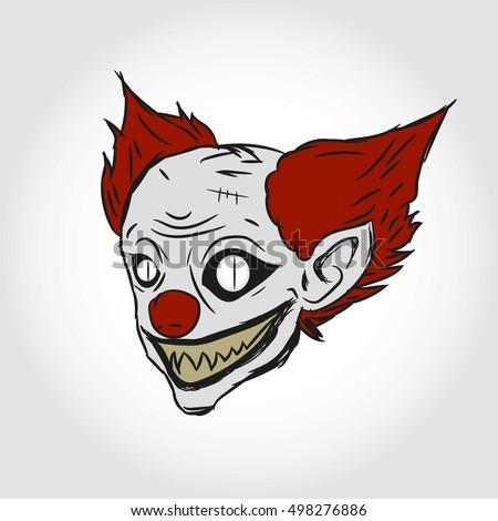 evil clown head illustration