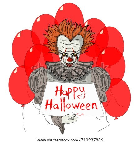 evil clown wiith red ballons