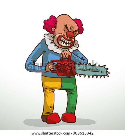 evil clown with a chainsaw