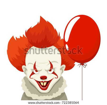 evil clown with red hairs hold