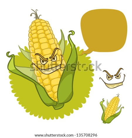 evil corn with scary smile and dialog box isolated on white. cartoon illustration