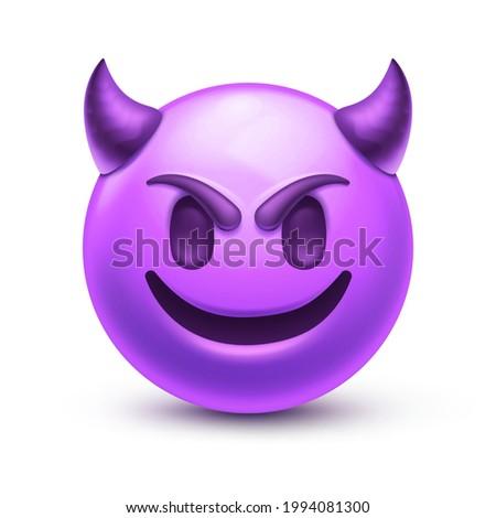 Evil devil emoji. Happy purple emoticon with devil horns, gloating demon 3D stylized vector icon Сток-фото ©