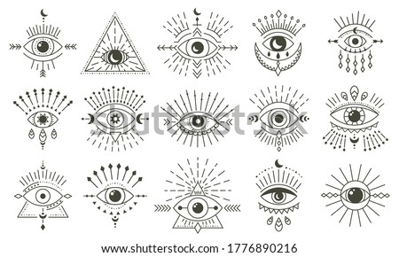 Evil doodle eye. Hand drawn magic witchcraft eye talisman, magical esoteric eyes, religion sacred geometry symbols vector illustration icons set. Amulet talisman, various luck souvenir