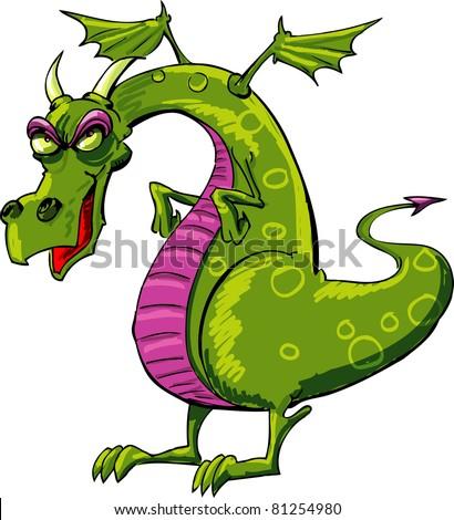 evil dragon cartoon isolated