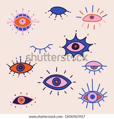 Evil eye colorful vector isolated doodle set. Magic, witchcraft, occult symbol, clip art line art collection. Hamsa eye, magical eye, decor element. Pink, blue, red eyes.