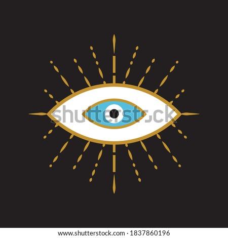Evil eye icon on black background, vector for frame, decorative, pattern ストックフォト ©