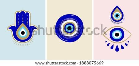 Evil eye or Turkish eye symbols and icons set. Modern amulet design and home decor idea ストックフォト ©