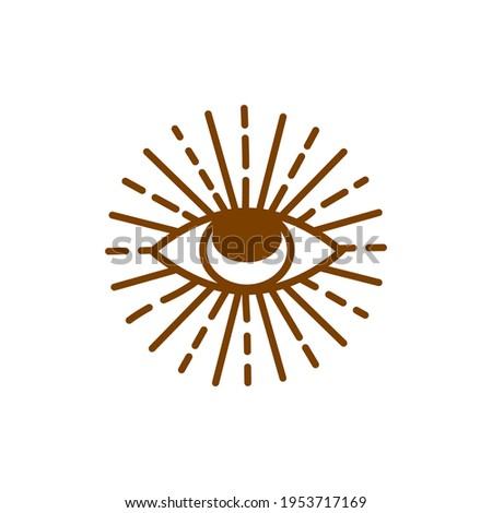 Evil eye pastel isolated. Magic, witchcraft, occult symbol. Hamsa eye, karma, magic eye, decorative element Brown golden eyes Stock photo ©