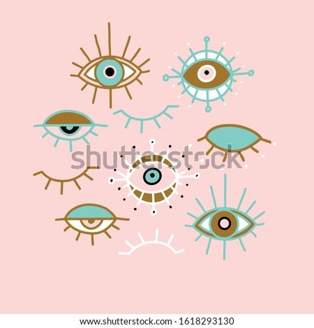 Evil eye pastel vector isolated doodle illustration. Magic, witchcraft, occult symbol, clip art line art collection. Hamsa eye, karma, magical eye, decor element. Pink, green, golden eyes.