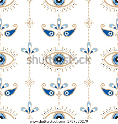 Evil eye vector seamless pattern. Magic, witchcraft, occult symbol, line art collection. Hamsa eye, magical eye, decor element. Blue, white, golden eyes. Fabric, textile, giftware, wallpaper.