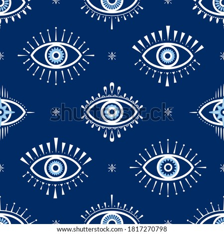 Evil eye vector seamless pattern. Magic, witchcraft, occult symbol, line art collection. Hamsa eye, magical eye, decor element. Blue, white, eyes. Fabric, textile, giftware, wallpaper.