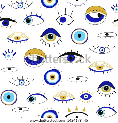 Evil eyes. Set of hand drawn various talismans. Different shapes. Flat design. Free hand drawing style. Contemporary modern trendy vector seamless pattern
