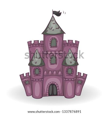 Evil fairytale castle with shadow