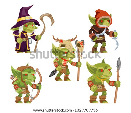 Evil goblins pack dungeon dark wood tribe monster minion army fantasy medieval action game RPG characters isolated icons set vector illustration