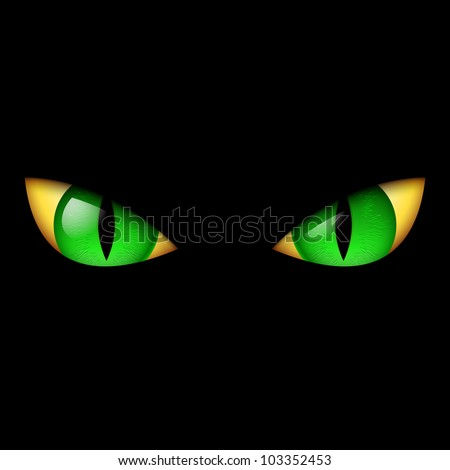 evil green eye illustration on