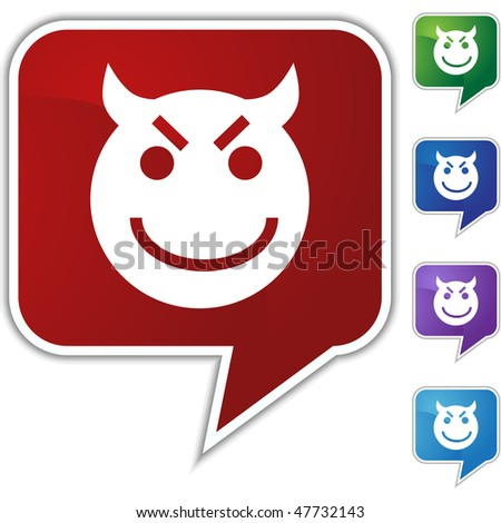 Evil grin emoticon isolated on a white background.