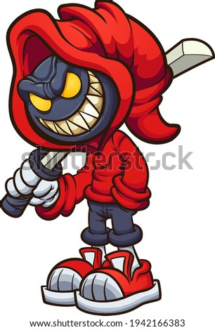 Evil hooded character holding a katana. Vector clip art illustration with simple gradients. All on a single layer.