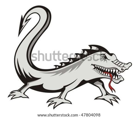 Evil lizard tattoo isolated on white
