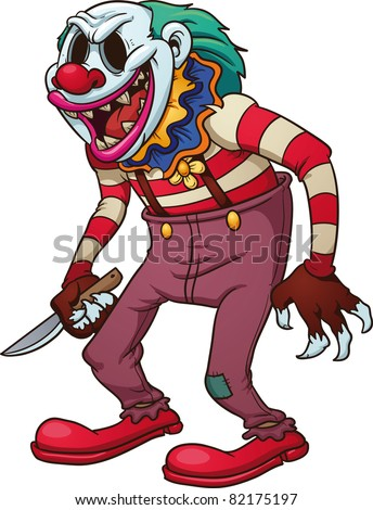 Evil looking clown holding a knife. Vector illustration with simple gradients. All in a single layer.