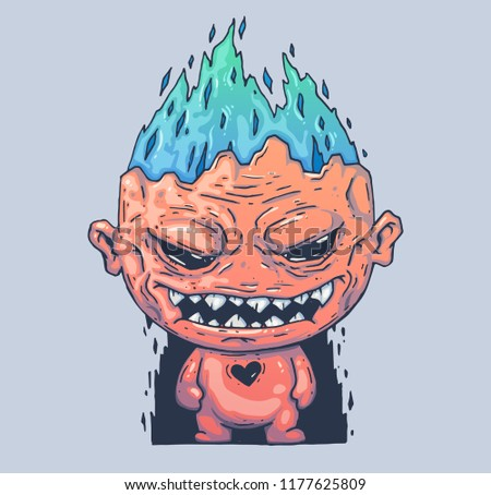 Evil monster with a burning head. Cartoon illustration for print and web. Character in the modern graphic style. Trendy style.