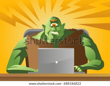 evil ogre troll monster using a