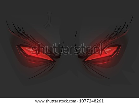 Evil red eyes in dark. Vector cartoon illustration of demonic angry red eyes