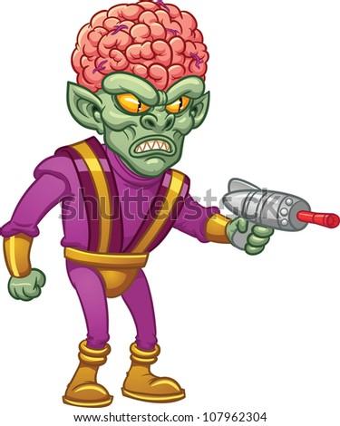 evil retro cartoon brain alien