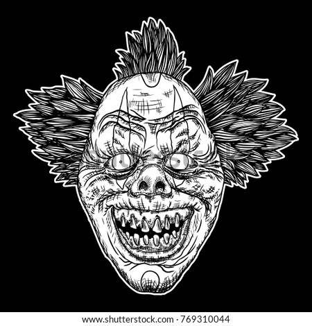 evil scary clown monster with