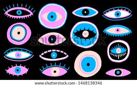 Evil Seeing eye symbol naive set. Occult mystic emblem, graphic design tattoo. Esoteric sign alchemy, decorative style, providence sight. Vector illustration.