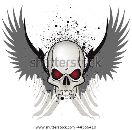 Evil skull emblem on white background