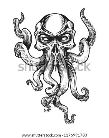 evil skull octopus mascot in