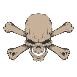 Evil skull with two crossed bones