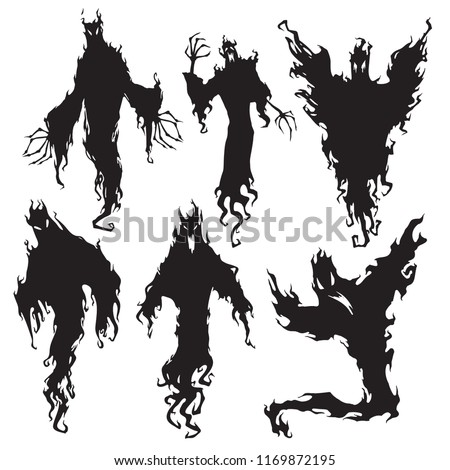 Evil spirit silhouette. Halloween dark night devil, nightmare demon or ghost evil appear magic wizard ugly silhouettes. Flying metaphysical wicked ghostly vector isolated icon illustration set
