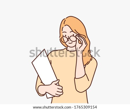 Evil teacher woman takes off her glasses, woman with homeworks of her students, Hand drawn style vector design illustrations.