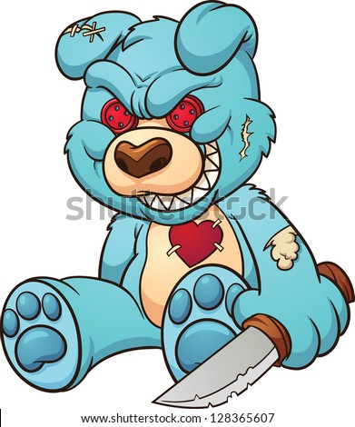 evil teddy bear vector clip
