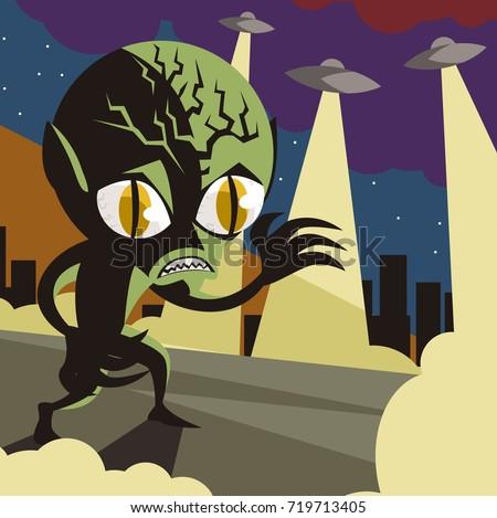 evil vintage alien space