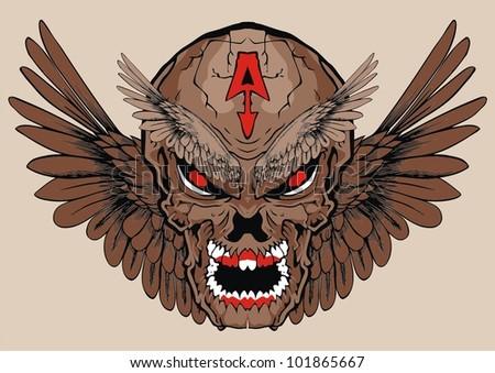 evil wing skull