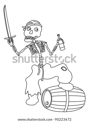 Evil zombie pirate jolly skeleton with a sword, a bottle of wine and a barrel, contours. Vector