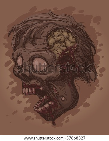 Evil zombie with open mouth. Vector illustration with simple gradients. All elements in separate layers for easy editing.