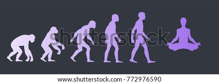 Evolution concept of enlightenment, vector illustration with chimpanzee - human - human in lotus pose